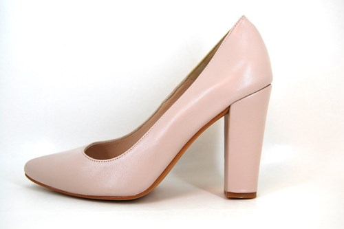 Nude Pink Pumps with High Thicker Heels
