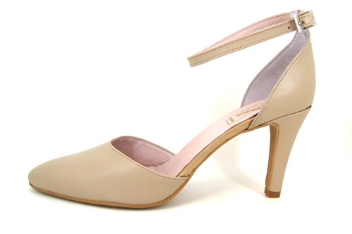 Pumps with Ankle Straps - beige