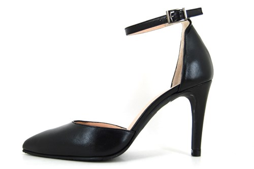 Black pumps with ankle strap.
