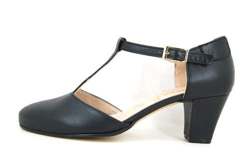 Black leather T-strap shoes