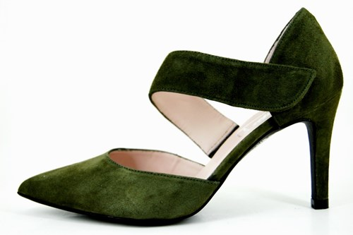 Olive green strap pumps