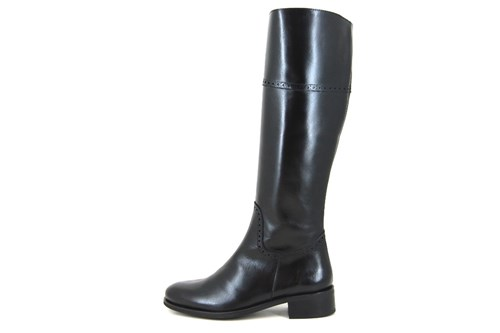 Flat long leather boots - black