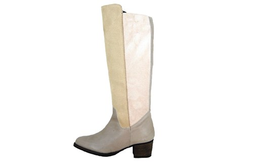 Beige elastic leather boots