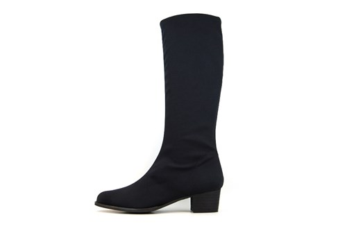 Stretch Boots Long with Low Heels - black