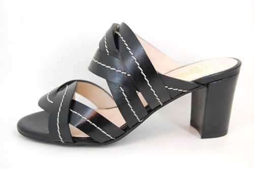 Exclusive Mule Sandals with Heels - black leather