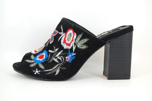 Black Floral Embroidered Heel Mules