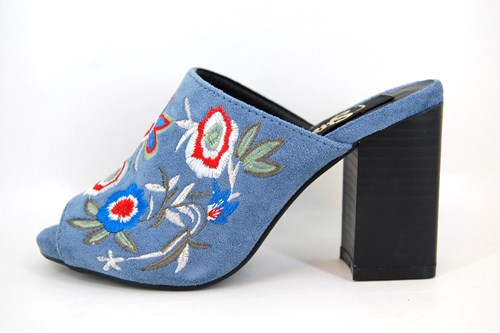 Floral Embroidered Mules - jeans blue
