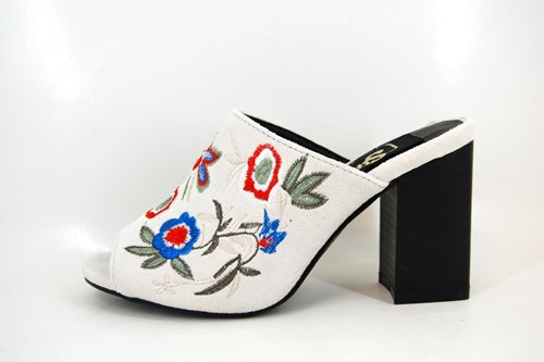 Floral Embroidered Slippers - cream white