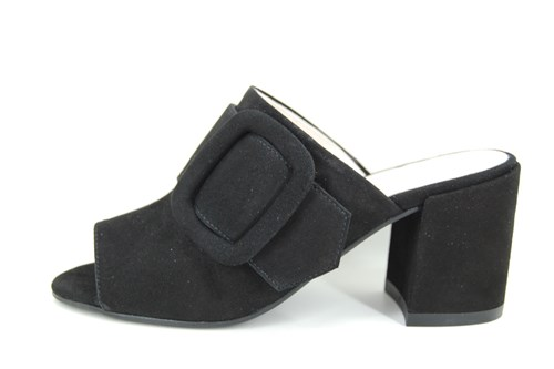 Slippers with buckle heels - black