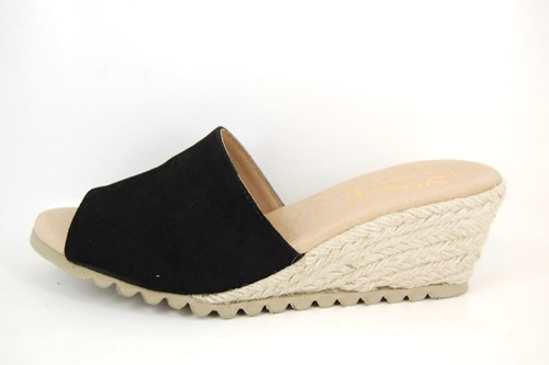 Espadrille Slippers with Wedges - black