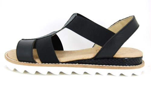 black elastic leather sandals small size wedges