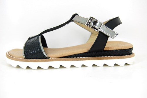Black leather T-strap wedge sandals