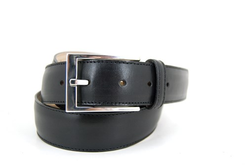 Black leather mens belt