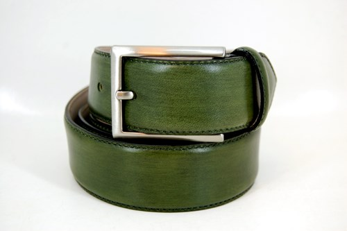 Luxury leather belt - green