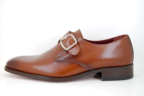 Brown buckle loafers