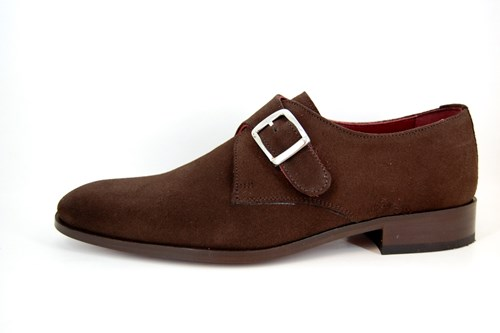 Single Buckle Monk Shoes - Brown Suede