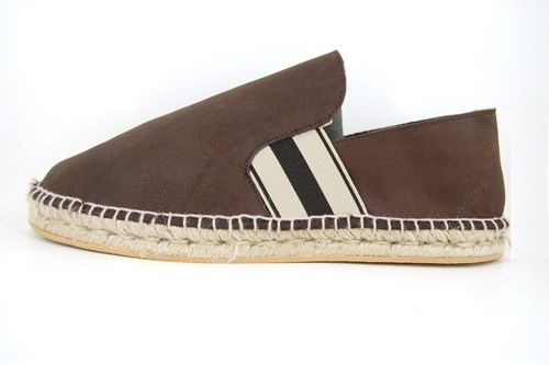 Mens brown leather espadrilles