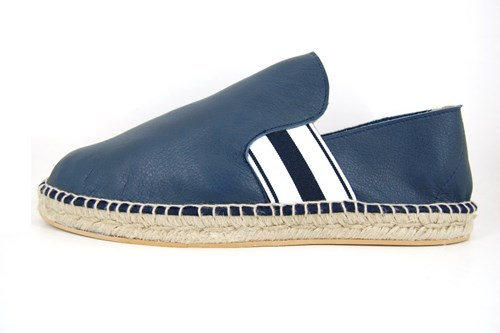 Mens leather espadrilles - blue
