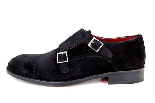 Buckle Shoe with Double Buckle - black suede