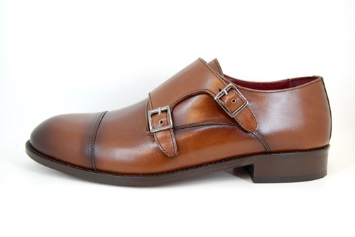 Double Buckle Shoes men's - brown leather