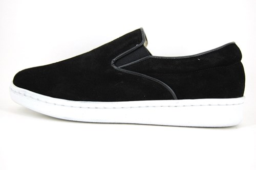 Stravers casual loafers mens - black suede