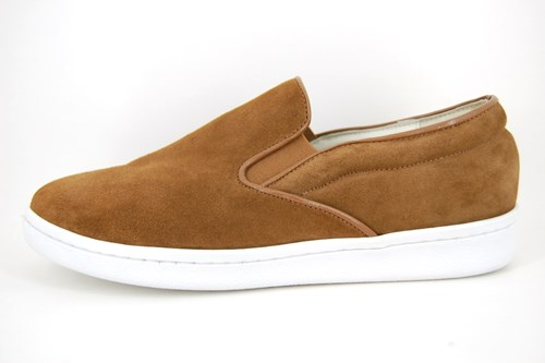 Stravers mens slip-on shoes - brown suede