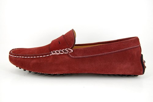 Mens suede mocassins - red