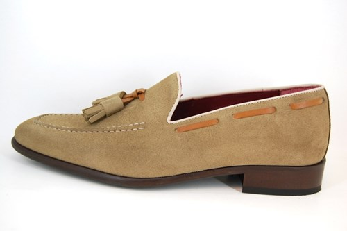 Men's loafers with Tassels - beige