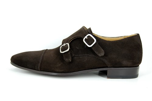 Double Monk Straps - brown suede