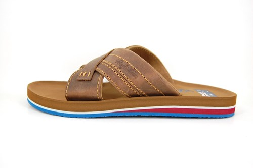 Leather mens slippers - brown