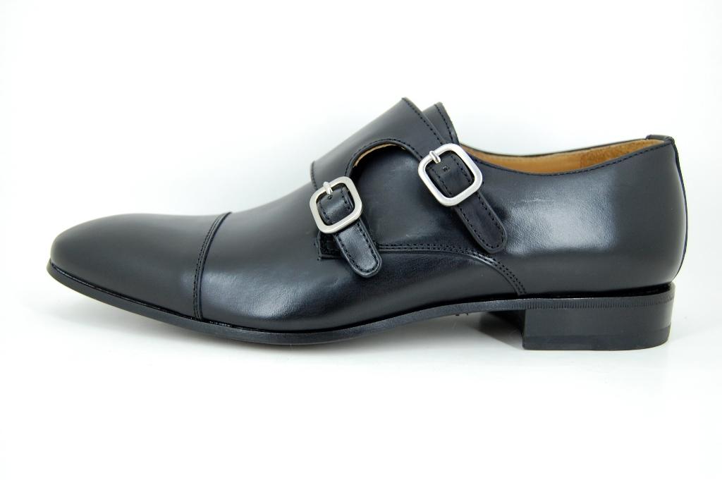 black double strap monk shoes